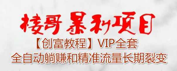【创富教 程】VIP全套全自动躺赚和精准流量长期裂变